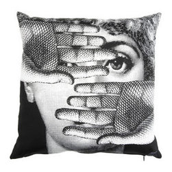 Fornasetti Theme and Variations 16-Inch Pillow - This artful Fornasetti pillow will add a little Lina Cavalieri classic beauty with a wink and a nod to your home.
