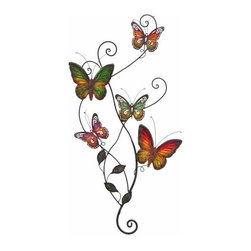 UMA - Vine of Butterflies Metal Wall Sculpture - A rainbow of butterflies are gathered on a twisting vine with delicate scrolls and realistic leaves