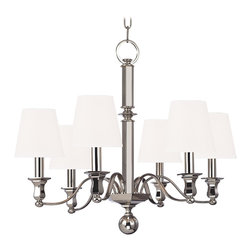 Hudson Valley - 6 Light Chandelier - Charlotte's updated historical styling is suited to the scale of today's homes. Gracefully curved arms extend from the chandelier's six-sided baluster to create a more substantial rendition of a classic design. Charlotte's sculpted physique displays tho Bright and reflective, Polished Nickel invokes a current sensibility that is tempered by its welcoming, warm tone. Flat planes possess mirror-depth in this plating, while curves show their lively contours. Polished Nickel also highlights the versatility