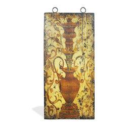 Vase Art Panel, Spanish Festive Vase with Bone Distressed and Terracotta - Vase Art Panel, Spanish Festive Vase with Bone Distressed and Terracotta