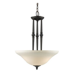 Z-Lite - Z-Lite 904P Clayton 3 Light Bowl Shaped Pendant - Give your home a touch of stately elegance with the classic Clayton lighting family. The simple detailing and clean lines of this three light pendant is finished in bronze with antique ivory glass shades.Features: