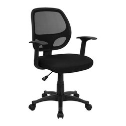 Flash Furniture - Flash Furniture Mid-Back Black Mesh Computer Chair - LF-W-118A-BK-GG - This standard office chair is very appealing and affordably priced. Breathable mesh back and padded seat provides comfort when sitting for long periods of time. chair is Height adjustable to conform to several desk sizes. [LF-W-118A-BK-GG]