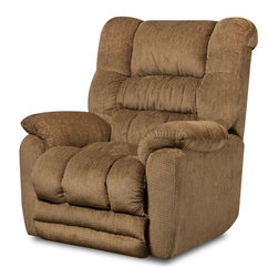 Chelsea Home - Napa Power Reclining Rocker - Transitional style. Mechanically engineered power mechanisms. Temptation fawn cover. Seating comfort: Medium. Sturdy kiln-dried hardwood frame. Stress points are reinforced with blocks to secure long lasting frame. Sinuous springing system manufactured with reinforced 16-gauge border wire. Double springs are used on the ends nearest the arms to give balance in the seating. Hi-density foam cores with dacron polyester wrap cushions. Cushions made with zippers. Made from 100% polyurethane. Made in USA. No assembly required. 40 in. L x 40 in. W x 45 in. H (120 lbs.)