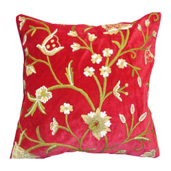 Crewel Pillow Tree of Life Red Cotton Velvet (20x20)