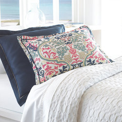Frontgate - Catalina Euro Sham - Duvet cover and king and standard shams are 100% linen. Shown with Overture Sheeting, Rio Driftwood Bed Skirt, Rio Driftwood Euro Shams, and Marbela Gold Square Pillow. Machine washable. Made in the USA. Elegant hues of blue, coral, and peridot are brought to life with the Catalina Bedding Ensemble. With a pattern reminiscent of coral, the soft, lightweight linen creates an impeccable beach-inspired escape.. . .