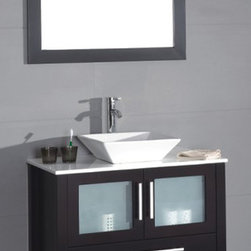 """Modern Bathroom Vanity with White Basin, Espresso, 30"""" - Cabinet is made out of  Pure Oak Wood"""