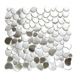 Eden Mosaic Tile - River Rock Pattern Mosaic Stainless Steel Tile, Sheet - Ain't no river wide enough to keep style lovers from this shining textural backsplash. These stainless steel river rock mosaic tiles glint from kitchen or bath walls like water flowing through sunlight. Samples are approximately 1/6 to 1/4 of a regular sized sheet. Please note: Sample tiles are not returnable. Only one sample per style is allowed. Only five samples may be ordered.
