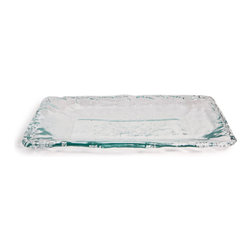 Danya B - Large Artisan Recycled Glass Rippled Edge Rectangular Platter/Tray - This gorgeous Large Artisan Recycled Glass Rippled Edge Rectangular Platter/Tray has the finest details and highest quality you will find anywhere! Large Artisan Recycled Glass Rippled Edge Rectangular Platter/Tray is truly remarkable.