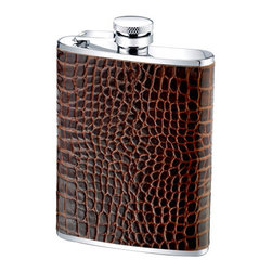 """Wilouby - Brown Crocodile Leather Flask - This funky flask offers a stylish container for a drink when on the go. Over a stainless steel interior, brown crocodile leather lends textured intrigue. 5""""W x 0.75""""D x 3.6""""H; Removable, twist-off top; Holds 6 oz; Clean flask with water before and after each use. Air dry."""