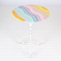 Worlds Away Bistro Table-Wave - Metal bistro table with hand painted multicolor wave design.