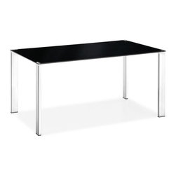 Zuo Modern - Slim Dining Table Black - Our Slim Dining Table has a sleek and elegant look that works great in any modern living space. This Slim dining table has a painted tempered glass top with four basic square chrome steel tube legs. It's the perfect dining table to compliment any dining room.