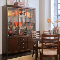 American Drew - American Drew Tribecca China Cabinet Multicolor - ADL754 - Shop for China from Hayneedle.com! Add decor and storage to your dining room with the American Drew Tribecca China Cabinet. Classic simple lines nickel hardware on a dark rootbeer brown finish and a smooth inviting texture make this furniture perfect for your modernly styled home. You can store and protect table linens candles fine china and more in this accent piece. Features include: two upper doors two lower doors with one adjustable shelf behind each six adjustable glass shelves three drawers a silverware tray and a three can light system. Beautiful way to display your fine china and to provide attractive storage to your home.
