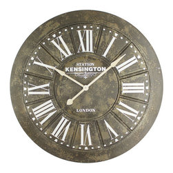 YOSEMITE HOME DECOR - Big Iron Wall clock with Screen Printing - Adorn your home with this large iron wall clock that features screen printed numbers. This clock is attention grabbing with its unique design. Add rustic charm to your study or living room with a clock that is both practical and stylish.