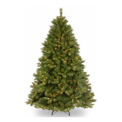 7 1/2 Ft. Winchester Pine Hinged Christmas Tree with 500 Clear Lights - Measures 7.5 feet tall with 60 inch diameter. Pre-lit with 500 UL listed, pre-strung Clear lights. Tip count: 1198. All metal hinged construction (branches are attached to center pole sections). Comes in three sections for quick and easy set-up. Includes sturdy folding metal tree stand. Light string features BULB-LOCK to keep bulbs from falling out. If one bulb burns out the others remain lit. Fire-resistant and non-allergenic. Includes spare bulbs and fuses. 5-year tree warranty / 2-year lights warranty. Packed in reusable storage carton. Assembly instructions included.