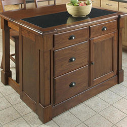 HomeStyles - Drop Leaf Kitchen Island - Profiled edge. 0.75 in. inset granite top. Four storage drawers. Storage cabinet with one adjustable shelf. Recessed door panels. Bold molding detail draw the eye deeper in. Antique bronze hardware. Made from mahogany solids and cherry veneers. Rustic cherry finish. Made in Indonesia. Without drop leaf: 48 in. W x 26.75 in. D x 36 in. H. With drop leaf:: 48 in. W x 39 in. D x 36 in. H. Assembly InstructionsCreate ambiance with a perfect balance of warmth and style with the aspen collection. what makes this island really unique is the hidden sliding mechanism connected to the back two posts. The mechanism provides easy mobility and independent movement of the two posts for expansion of the breakfast bar. Either with the breakfast bar closed or in use, this piece has a polished look by being consistently styled on both the approach and working sides.