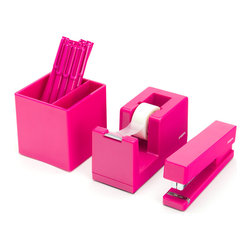 Poppin - Starter Set, Pink - Starter Set includes: Stapler with free Staples, Tape Dispenser with free Tape, Box of 12 Signature Pens, and Pen Cup
