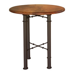 Artisan Home Furniture - Artisan Home Barstools Round Leg Bistro Table w/ Copper Top - Gives the appearance of a copper top, with the affordability of a metal top. Matches our IFD300 barstools and metal bases on Valencia Collection.