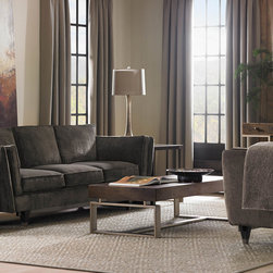 Modern Artisan Coffee Table - Beautifully understated contemporary styling designed for spaces meant to be lived in. Features such as fumed oak, artisan metal & cast glass offer dramatic depth & visual interest in a melding of machine-tooled components with an artisan's skilled hand.