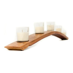 Wine Barrel Concepts - 5-Votive Stave Candle Holder, Light Golden Oak - Handcrafted from a reclaimed piece of Napa-valley wine barrel, this elegantly arching candleholder is ideal as a centerpiece, above the fireplace, or in a window.  Designed to hold five (5) votive candles in clear glass holders (candle holders included with purchase).