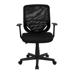 Flash Furniture - Mid-Back Black Mesh Office Chair with Mesh Fabric Seat - This standard office chair is very appealing and affordably priced. Breathable mesh back and padded seat provides comfort when sitting for long periods of time. Chair is height adjustable to conform to several desk sizes.