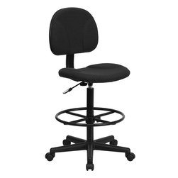 Flash Furniture - Flash Furniture Black Patterned Fabric Ergonomic Drafting Stool - BT-659-BLK-GG - Drafting Stools can be used in a multitude of environments including School, Work and for the Home. Not only is this chair great for drafting and regular office assignments it is also useful for people with disabilities who need a higher chair. Drafting stools make it easier for the user when they need or prefer more height to comfortably get in and out of chairs. This chair will satisfy your needs at an affordable price that can't compare! [BT-659-BLK-GG]