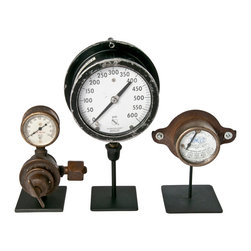 Salvatecture Studio - Set Of Three Vintage Industrial Gauges On Stands 5 - Gauges have been around as instruments of measurement and precision for ages. Here are three vintage ones to give your den or office an industrial vibe. This trio is mounted on reclaimed iron stands, and each gauge is distinctive in size and style. This could be the start of a fascinating collection!