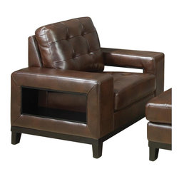 Coaster - Coaster Paige Leather Club Chair with Cutout Arms in Brown - Coaster - Club Chairs - 504433 - This unique modern upholstered arm chair will add a bold look to your living room. The wide track arms feature distinctive side cutouts, creating convenient storage space and cool style. A comfortable seat with cushion tufting and a sleek wooden base rail complete this contemporary upholstered chair.