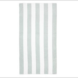 PB Classic Stripe 650-Gram Weight Jacquard Bath Towel, Porcelain Blue - Wide stripes adorn our PB Classic Stripe Bath Towels. At a hefty 650 grams, the absorbent Turkish terry towels are yarn dyed for exceptional softness. 650-gram weight. Combed cotton ensures long, uniform fibers. Plush, soft towels have superior loft and absorbency. Features pleated dobby trim. Hand and bath towels may be monogrammed. Coordinates with the Pottery Barn Classic Bath Collection. Machine wash. Oeko-Tex certified, the world's definitive certification for ecologically safe textiles. Made in Turkey. Catalog / Internet only.
