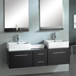 Ariel X-002 - Mirage 60 Wall Mounted Dual Bathroom Vanity - This bathroom vanity is now available for $1375.00  at http://www.BathroomEtc.com and http://wwww.SteamShowersInc.com Shipping is always free! SAVE 10% off, with coupon code BREHZ10 on BathroomEtc or coupon SSIHZ10 online and on phone orders at SteamShowersInc.com. To order by phone, call: 800-304-3598