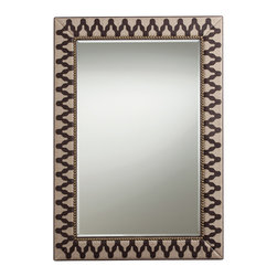 Kathy Kuo Home - Ishtar Leather Linen Global Exotic Patterned Mirror - An exotic pattern of chocolate brown leather snakes across the natural linen framing on this exquisite Ishtar mirror.  Antique brass nail studs contrast with a modern, gleaming rectangular mirror to create a large, room-defining piece that will bring unique style and a sense of history into your industrial loft or contemporary home. Try hanging lengthwise above your vintage sofa.