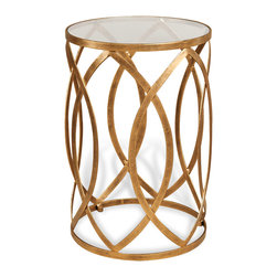 Kathy Kuo Home - Prima Hollywood Regency Gold Tall Side Table - Designed to delight, this cylindrical Hollywood Regency style table hits all the right notes - antique gold finished base, an elegant repetition of almond shaped elements and a simple polished glass top. It is the perfect piece for contemporary spaces in need of a gentle touch of luxury.