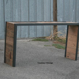 Vintage Industrial Console Table. Reclaimed Wood and Steel. Sofa Table. Urban -