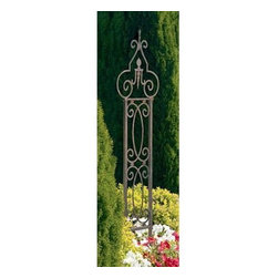 Grand Garden 5.5-ft. Iron Arch Trellis - Add a dramatic accent to your home and garden with the Grand Garden Trellis. Constructed of sturdy wrought iron it won't blow over in the wind and features a weather-resistant brown powder-coat finish. It can be used in a planter or on a patio and looks great when displayed in pairs. Outdoors in the garden it will add structure and height. A lovely accent piece.