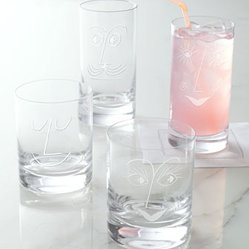 "kate spade new york - kate spade new york ""Bar Belles"" Glassware - Whimsical glassware adds a bit of personality to beverage service. Sold in pairs, each glass is etched to resemble one half of a happy couple, creating a perfect pair. Made of lead-free crystal. Dishwasher safe. Double old-fashioned glasses hold 12 o..."