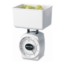 Salter - Mechanical Diet Scale - Includes a snap-on lid for storage or travel. Small but accurate scale will measure small portions at home or on the go. Measures up to 16 oz. in 0.25 oz. increments as well as up to 500g in 5g increments. Can be used for measuring all foods. Scale will also fit inside bowl for compact and convenient travel. No assembly required. 10 Year manufacturer's warranty. 3.88 in. L x 3.13 in. W x 5.13 in. H.