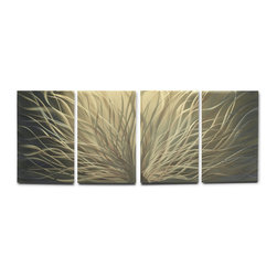 Miles Shay - Metal Art Wall Art Decor Abstract Contemporary Modern Sculpture- Golden Radiance - This Abstract Metal Wall Art & Sculpture captures the interplay of the highlights and shadows and creates a new three dimensional sense of movement as your view it from different angles.