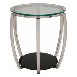 Nuevo Living - Julian Side Table - Curvy contours are just so sensual, but you like a modern vibe too. Get both with this accent table, its rounded shape formed with polished stainless steel and clear and black glass.