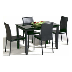 Extendable Rectangular Glass Top Leather Italian 5 pc Dinette Set with Leaf - Black glass dining table set with two extension leafs and chairs. Constructed of metal and tempered glass. Side chair constructed of metal and leathermatch. Black finish. Assembly required. Additional 2 chairs are available at a discount price.