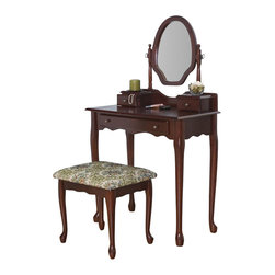 Coaster - Coaster Traditional Wood Makeup Vanity Table Set with Mirror in Stained Cherry - Coaster - Bedroom Vanities - 3441 -The Coaster Traditional Cherry Vanity Table Set is a dressing table with an air of sophisticated old world class, with its subtle curves and beautiful cherry stain. Keep your jewelry and accessories organized with the various drawers, making getting ready for your day a wonderful experience in itself.