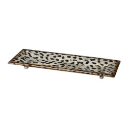 Cheetah Animal Print Ceramic Tray - Malawi - *Burnished Cheetah Print Over A Ceramic Base.