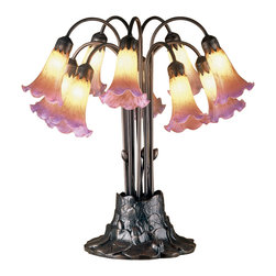 Meyda Tiffany - Meyda Tiffany Amber / Purple Pondlily Tropical Table Lamp X-92441 - From the Pond Lily Collection, this Meyda Tiffany table lamp features multiple lights housed in 10 lily-shaped light heads. The glass lily shades are made from a mottled amber glass that has been dipped in purple for a touch of added flair. This design is a recreation of the famous favrile design from the 1900s.