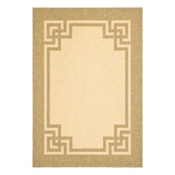 "Martha Stewart Living - Martha Stewart Indoor/Outdoor Area Rug: Deco Frame Sand/Coffee 4' x 5' 7"" - Shop for Flooring at The Home Depot. Featuring weather-resistant polypropylene construction, the Martha Stewart Living Deco Frame Sand/Coffee 4 ft. x 5 ft. 7 in. Indoor/Outdoor Area Rug is a great way to accent your decor. This beautiful rug is machine made in Belgium. Designed for both indoor and outdoor use, this versatile rug cleans easily with a garden hose."