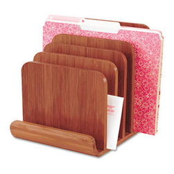 Safco - Bamboo Wood Organizer, Five Sections, 8 X 10 X 9, Cherry - Bamboo five-tier organizer keeps projects, files and other important documents safe and in order. Tiered sections allow easy access to files. Bamboo adds a stylish touch to any working environment. Desktop File Folder Sorter Type: Inclined File Sorter; Number of Compartments: 5; Material(s): Wood.