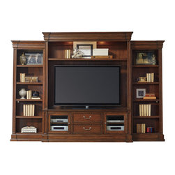 """Hooker Furniture - Hooker Furniture Clermont Four Piece Wall Group - The Clermont Four Piece Wall Group is crafted using Poplar Solids and Cherry Veneers. Left Pier: Three adjustable shelves; one fixed shelf. Right Pier: Three adjustable shelves; one fixed shelf. Entertainment Console: Two wood-framed beveled glass doors with one adjustable shelf behind each; two utility drawers with dividers for CD/DVD storage; one three plug electrical outlet; removable waist and base molding. Entertainment Console Hutch: One adjustable shelf; two lights controlled by three-intensity touch switch. TV space: Inside pilasters: 64 7/8W x 18 1/8D; Inside end panels: 68 7/8W x 18 1/8D; Shelf heights above console: 37 7/8H, 40 3/8H, 42 7/8H. Poplar Solids and Cherry Veneers. Dimensions: 128.5""""W x 21""""D x 88.5""""H."""