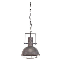 #N/A - Zaio - Zaio. natural finish, metal, industrial pendant with caged bulb cover