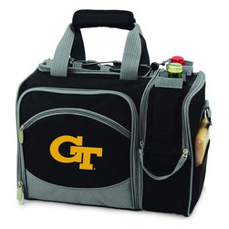 Picnic Time - Georgia Tech Malibu Picnic Pack in Black - Insulated pack with picnic service for 2 made of 600D polyester canvas. The elegant and unique Malibu shoulder pack is perfect for picnics, concerts, or travel. This tote has an integrated wine storage section and a spacious food storage section with removable liner. The adjustable shoulder strap makes it easy to carry. A wonderful gift idea.; College Name: Georgia Tech; Mascot: Yellow Jackets; Decoration: Digital Print; Includes: 2 Wine glasses (acrylic), 2 Napkins (cotton 14 x 14 in.), 1 Corkscrew (waiter style stainless steel), 1 Cutting board (wood 6 x 6 in.), 1 Cheese knife (stainless steel w/wood handle), 2 Plates (melamine 9 in.), 2 Ea. Knives forks & spoons (stainless steel), 2 Napkins (cotton 14 x 14 in.)