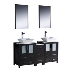 """Fresca - Fresca Torino 60"""" Espresso Double Sink Vanity w/ Side Cabinet & Sinks - Dimensions of vanity:  60""""W x 18.13""""D x 35.63""""H. Dimensions of mirror:  20.75""""W x 31.5""""H x 1.25""""D. Materials:  Plywood w/ veneer, ceramic sinks. Single hole vessel faucet mounts. P-traps, faucets, pop-up drains and installation hardware included.  Fresca is pleased to usher in a new age of customization with the introduction of its Torino line.  The frosted glass panels of the doors balance out the sleek and modern lines of Torino, making it fit perfectly in either town or country decor.  Available in the rich finishes of Espresso, Glossy White, Light Oak and Walnut Brown."""