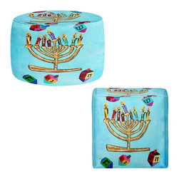 DiaNoche Designs - Ottoman Foot Stool by Jackie Phillips - Menorah II - Lightweight, artistic, bean bag style Ottomans. You now have a unique place to rest your legs or tush after a long day, on this firm, artistic furtniture!  Artist print on all sides. Dye Sublimation printing adheres the ink to the material for long life and durability.  Machine Washable on cold.  Product may vary slightly from image.