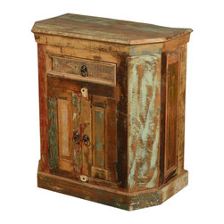 Sierra Living Concepts - Rustic Reclaimed Wood Weathered End Table with Drawer - Bring home a colorful charm in an old world design with our Rustic Reclaimed Wood Weathered End Table with 2 Doors and 1 Drawer.