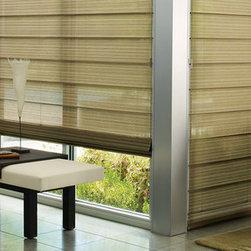 Hunter Douglas Woven Woods Window Treatments - Hunter Douglas Alustra® Woven Textures® Roman Shades with UltraGlide®